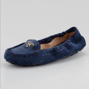 Prada 💕Navy Suede Driving Scrunch Loafer 36